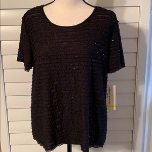 ALFRED DUNNER NWT SIZE PM BLACK RIPPLED & SEQUINS